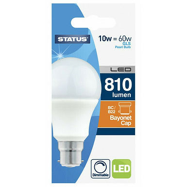 10w = 60w = 806 lumens Dimmable LED - GLS - BC - PA