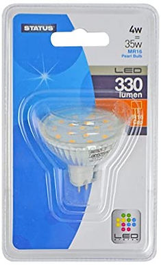 4w = 35w = 330 lumens - Status - LED - MR16 - 100� - Glass - Clear - 1 pk