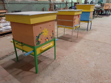 Ceramic beehives assembled just before export