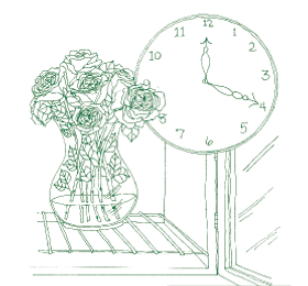 Illustration of roses in vase