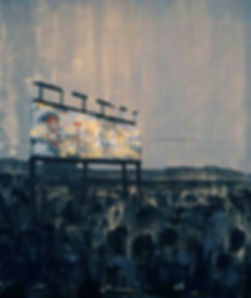 an wei painting start landscape with billboard desert.