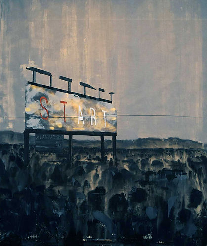 an wei painting start landscape with billboard desert.