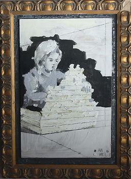 an wei painting black and white child girl making a wall.