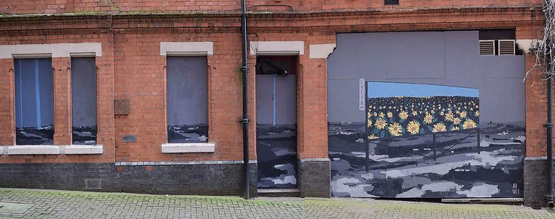 an wei wall painting sunshine in Birmingham landscape street art.