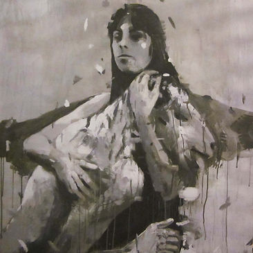 an wei painting black and white virgen caída.