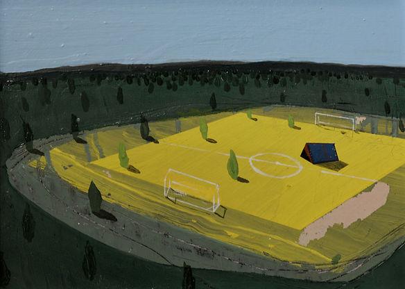 an wei painting landscape tienda de campaña en campo de futbol.
