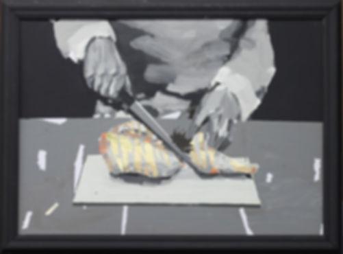 an wei painting espositivo cortando pollo arte contemporáneo