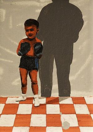 an wei painting damian niño boxeador con sombra.