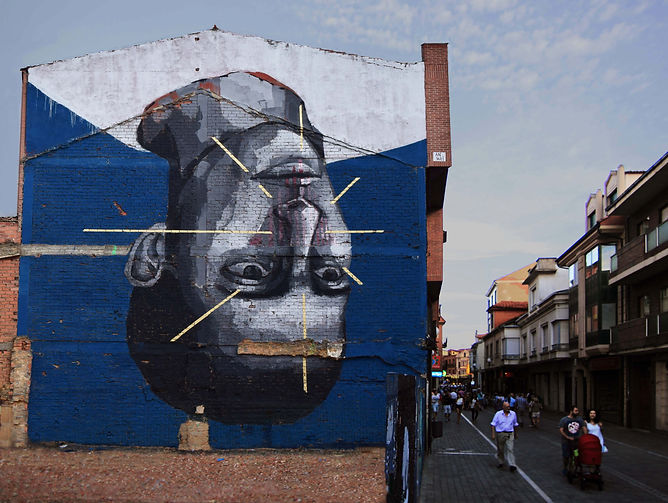 an wei street art painting portrait upside down.