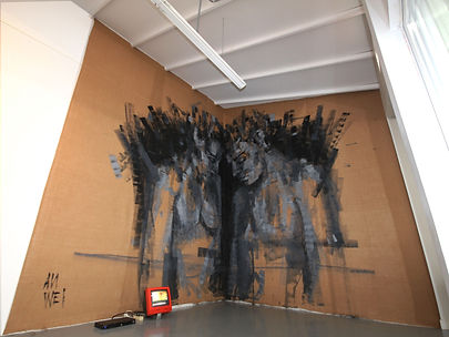 an wei painting black and white painting installation.