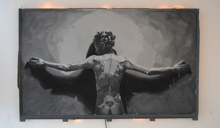 an wei painting icarus black and white self portrait.