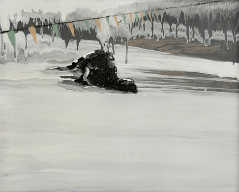 an wei painting black sheep snow.