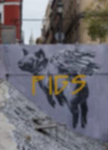 an wei pigs cerdo volando street art Madrid campo de la cebada.
