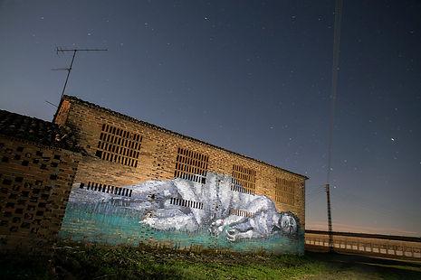 an wei democrazy street art mural rural Cáceres