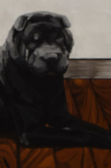 an wei painting art and black dog shar pei.