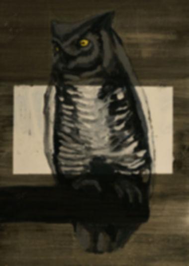 an wei painting búho proyección noche.