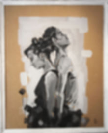 an wei painting black and white persons.