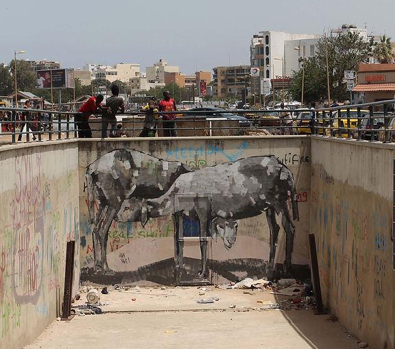 an wei painting sheeps street art dakar senegal