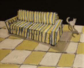 an wei painting nómada gato y sofá.