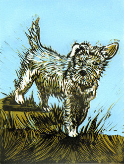 Terrier, linocut print