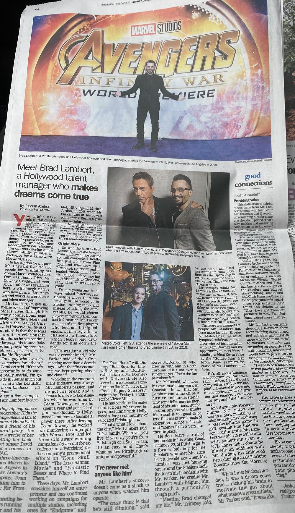 Brad R Lambert feature in the Pittsburgh Post Gazette