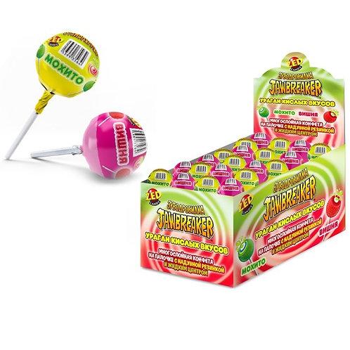 ЗУБОДРОБИЛКА Ураган кислых вкусов многослойная конфета на палочке с надувной рез