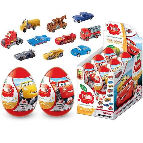 """""""DISNEY ТАЧКИ 3"""" Фруктовые пастилки в пластиковом яйце с подарком и значком"""