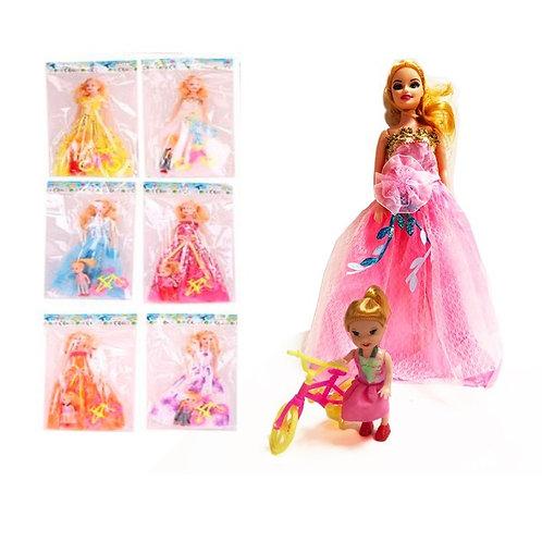 """Кукла 11""""с куколкой и велосипедом в ассортименте"""