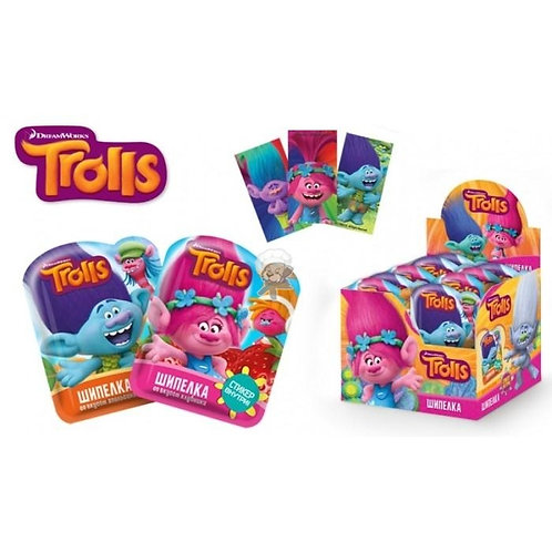 """TROLLS"" Сладкая шипучка ""Шипелка"" в полимерном пакете с подарком (на страйп-лен"