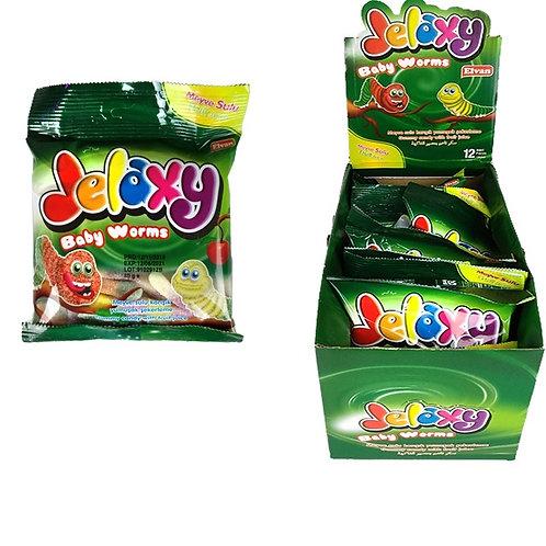 Jelaxy Baby Worms(Червячки в сахаре) Жевательный мармелад  с фруктовым соком