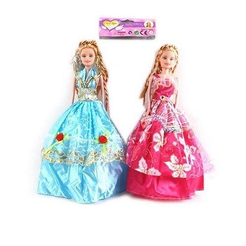 Кукла в бальном платье и волосы косички литая в ассортименте в пакете