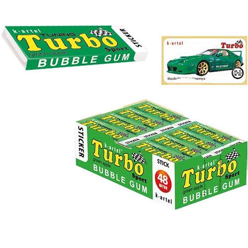 «TURBO» Резинка жевательная недражированная со вкусом яблока с наклейкой