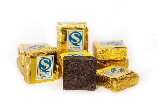 Элитный чай Пуэр, пресованный золотой квадратик