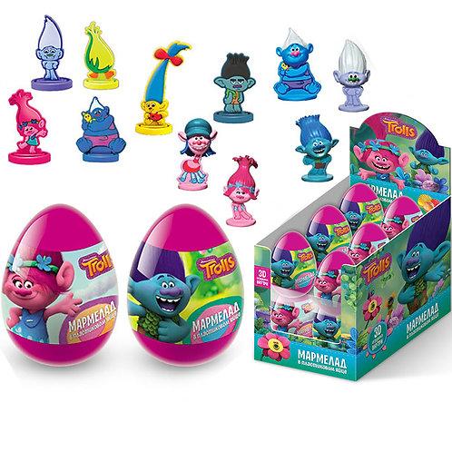 """TROLLS"" Мармелад в пластиковом яйце с игрушкой"