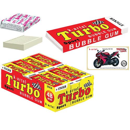 «TURBO» Резинка жевательная недражированная со вкусом персика с наклейкой