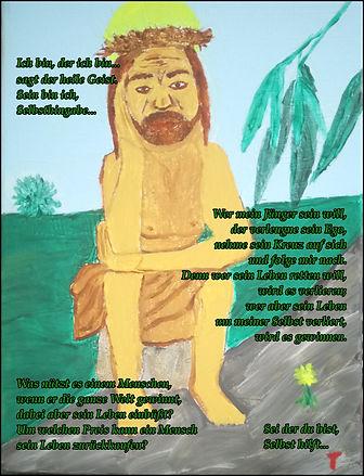 Jesus auf der Rast mit heilem Geist und