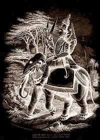 Indra auf dem Elefant sepia.jpg