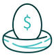 A bird's nest with an egg with a money symbol on it