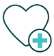 heart with medical plus symbol next to it