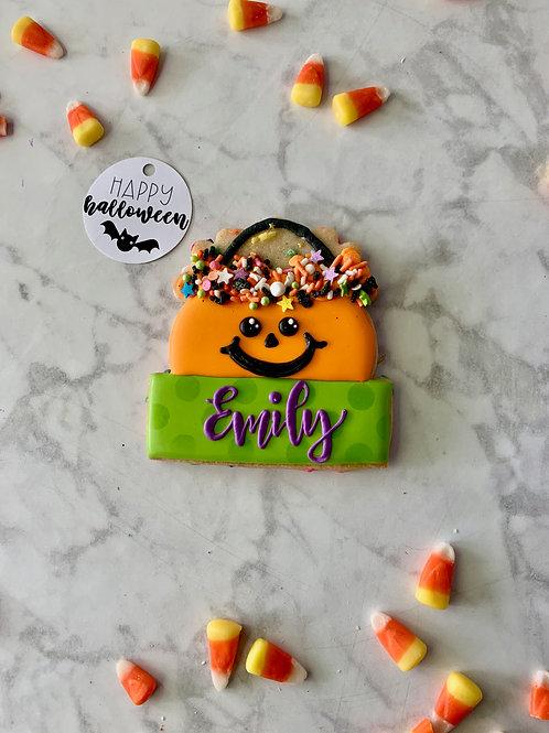 Pumpkin Pail Personalized Cookie