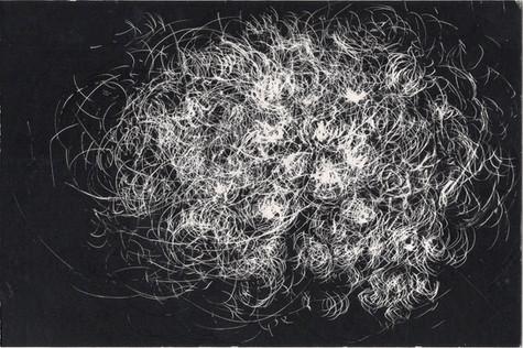 Tourmente #14. Gravure sur carton noir. 10 x 15 cm. 2021