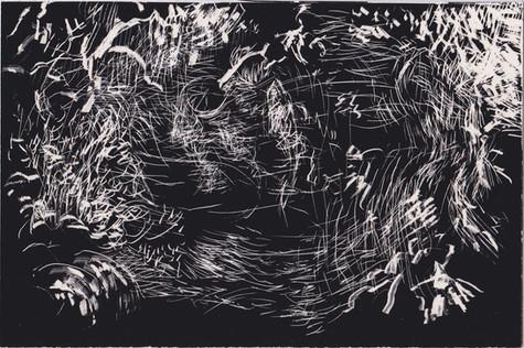 Tourmente #3. Gravure sur carton noir. 10 x 15 cm. 2019