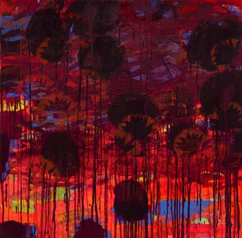 Vieux volcan. Acrylique sur toile 80 x 80 cm. 2015