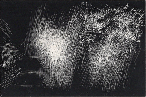 Tourmente #10. Gravure sur carton noir. 10 x 15 cm. 2019