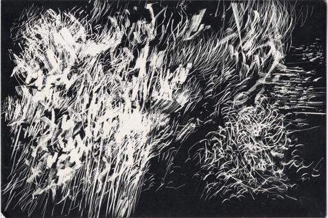 Tourmente #7. Gravure sur carton noir. 10 x 15 cm. 2021