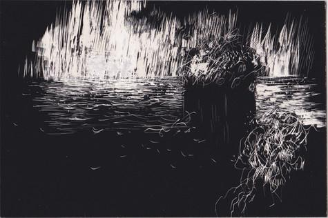 Tourmente #5. Gravure sur carton noir. 10 x 15 cm. 2019