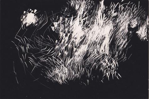 Tourmente #1. Gravure sur carton noir. 10 x 15 cm. 2019