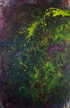 Ne pas plus résister que la terre au printemps. Acrylique sur toile. 146 x 97 cm. 2015