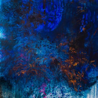 L'endroit secret. Acrylique sur toile. 140 x 140 cm. 2018