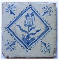 Delft Tile featuring a tulip